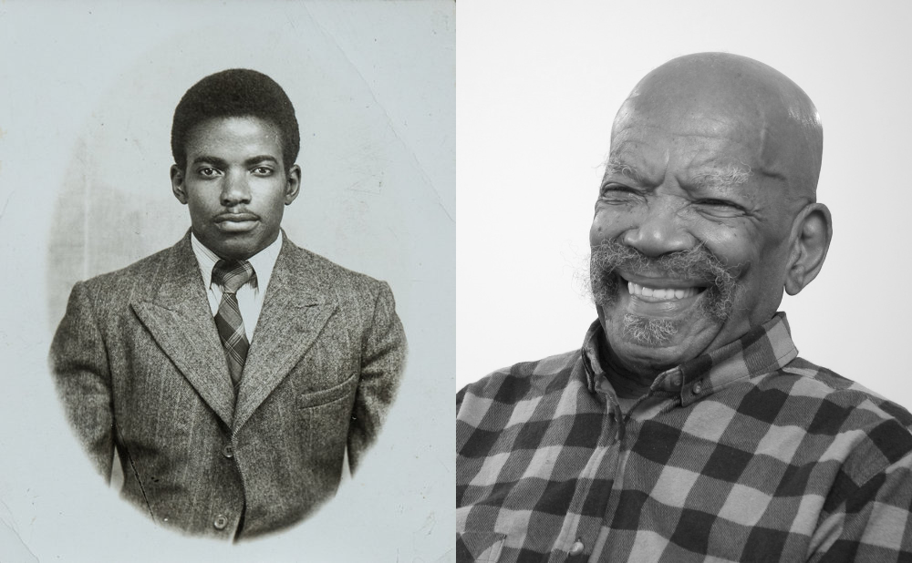 Two black and white photos, one showing Alford as a young man when he first arrived in the UK, and one more recent one, showing him as an older man.