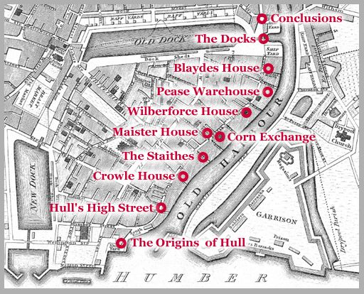 Part of an historic map of Hull's High Street with significant points along the old harbour  marked in red.