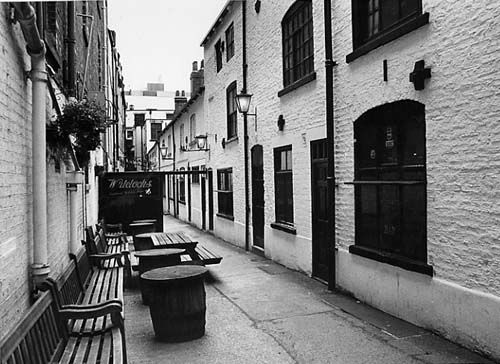 Two rows of terraced workers cottages with a narrow alley in between.