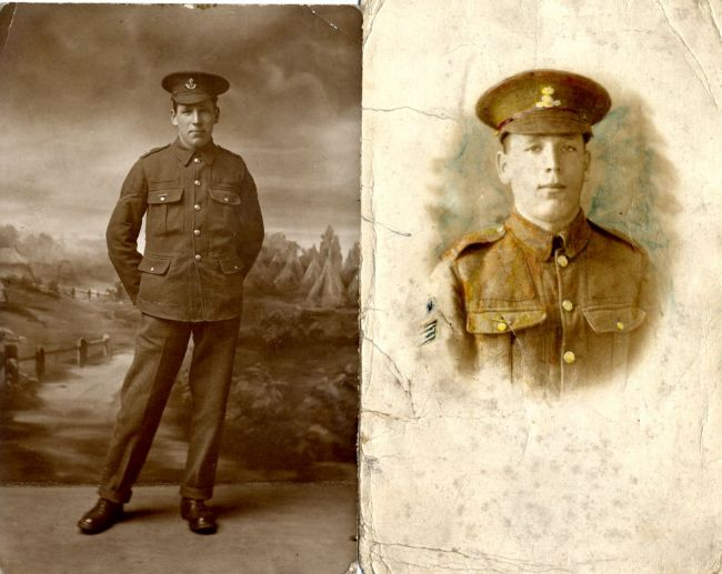 Black and white photograph of a First World War soldier in uniform, alongside a close-up head and shoulders photograph of the same man