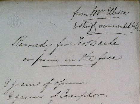 detail of handwritten remedy for toothache