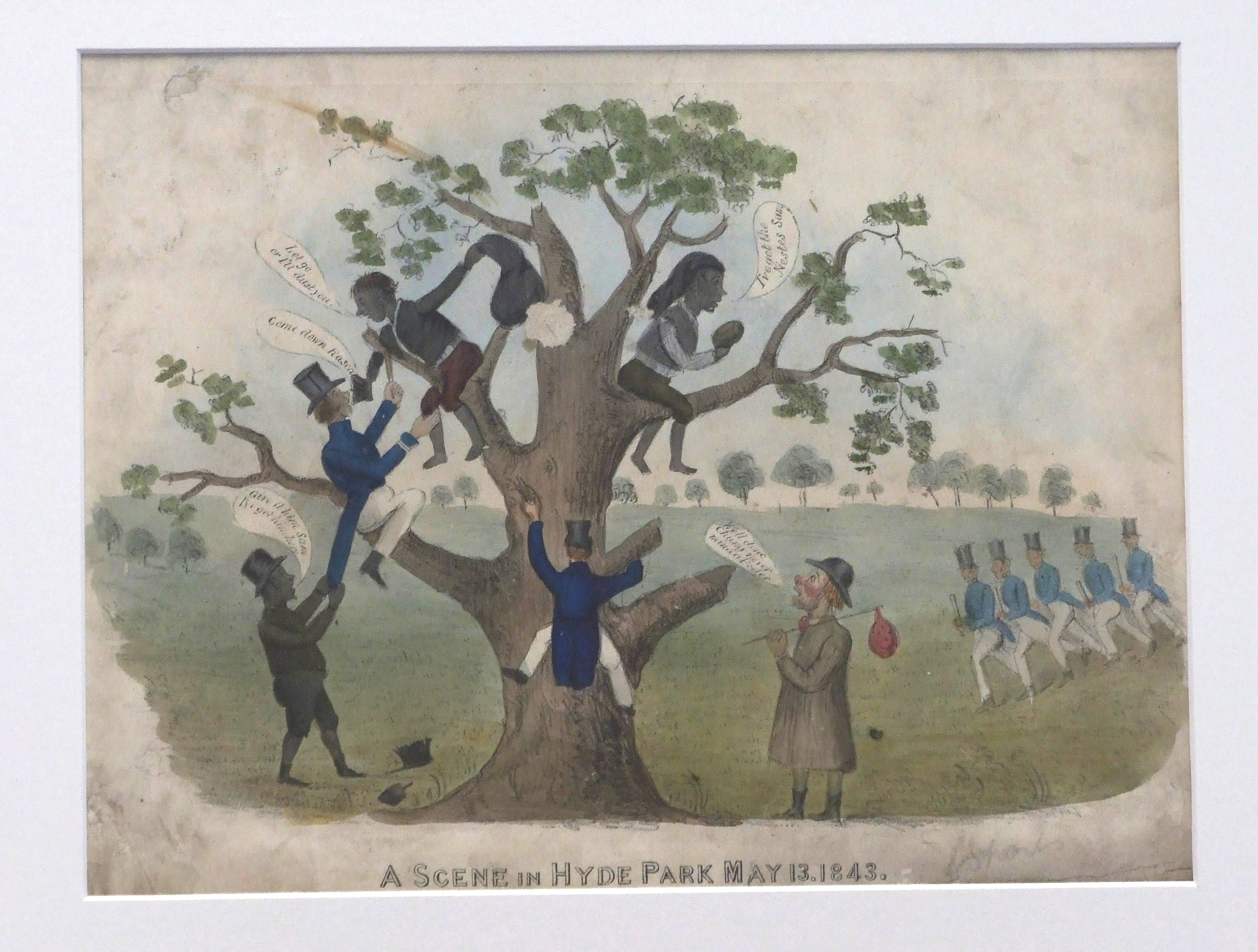 """The image depicts two chimney sweeps sitting in the high branches of a tree in Hyde Park, they have presumably stolen something and are attempting to evade the police who have begun to climb the tree. A third sweep stands at the bottom of the ground holding onto the coat tails of one of the policeman.   Five more policeman approach from the background in military formation. One policeman has hold of a sweep and says """"Come down you rascal"""".   """"Let go or I'll dust you"""" threatens one the sweep in return, holding a full sack of soot.  The other sweep,  sitting in the tree brags; """"I've got the Nestes Sam"""".  Sam  is a beggarly man standing at the foot of the tree holding a bundle shouting words of encouragement to the sweeps."""