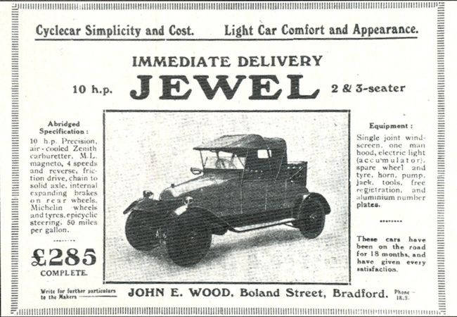 Inventions in Transport from Bradford - Advert for the Jewel motor ...