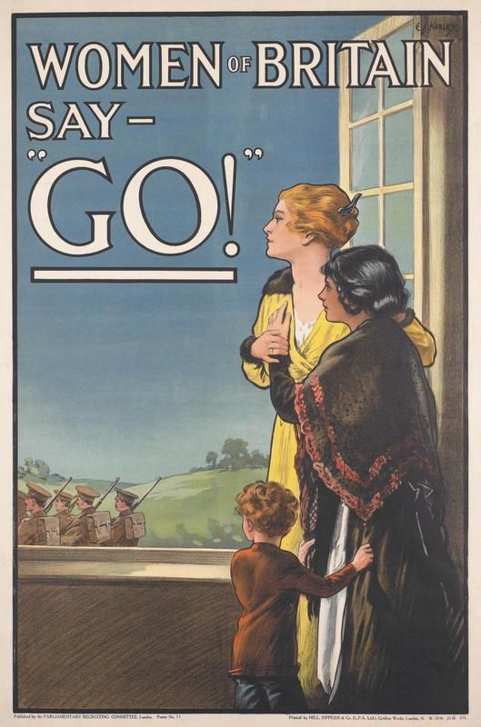 """WW1 propaganda poster showing women waving off the troops, with the caption: 'Women of Britain Say """"GO!""""'"""