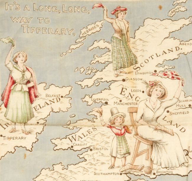 Women depicted waving a soldier off to war on a map of Scotland, Ireland and England.