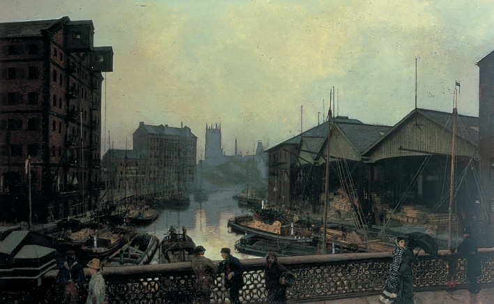 Painting showing a bridge in Leeds near a working dock. There are people walking on the bridge.