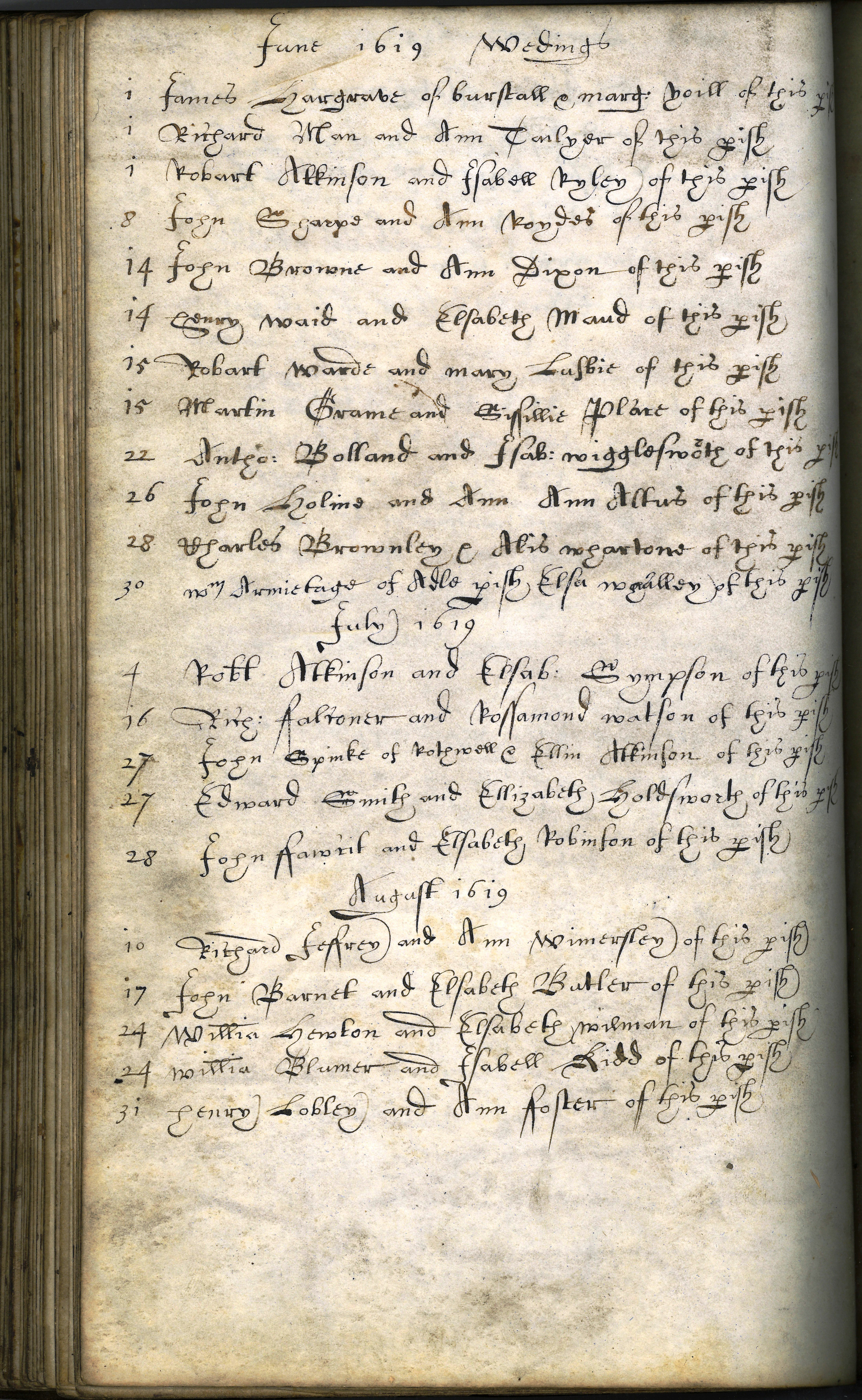 Page from Parish Register showing weddings at St Peter's Church, Leeds during 1619