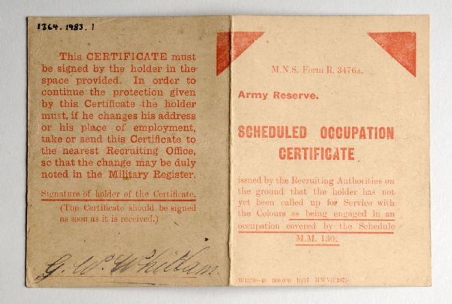 Scheduled Occupation Certificate for G W Whitlam