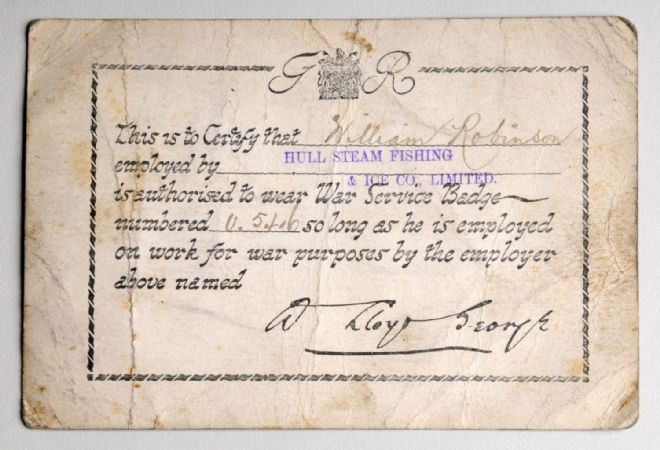 Certificate authorising fisherman William Robinson to wear a War Service Badge