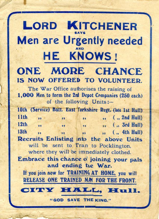 East Yorkshire Regiment Recruitment Poster, 1914