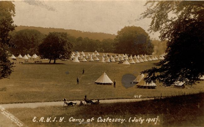 Postcard sent by Leonard May showing the East Riding Yeomanry camp at Costessey, July 1915