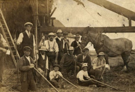 Farm workers during the First World War in the East Riding of Yorkshire at harvest time