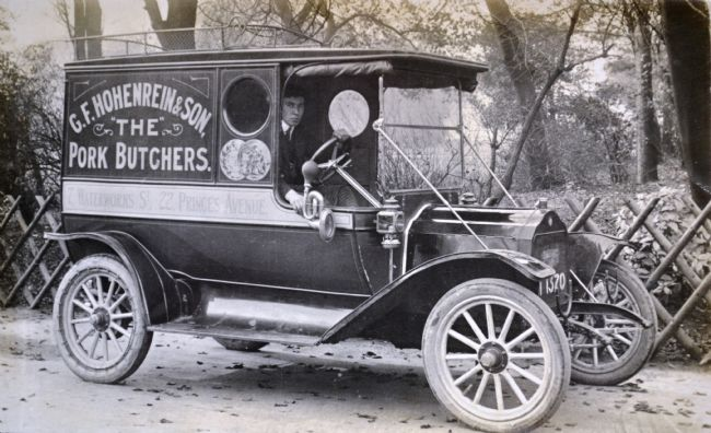 Photograph of G F Hohenrein & Sons' delivery van during WW1 in Hull
