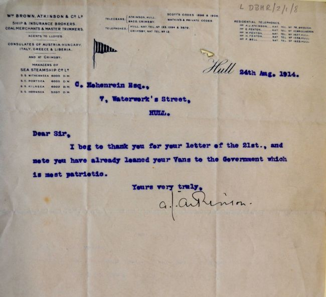 Letter 24.8.14 thanking Charles Hohenrein for loaning his vans to British government during WW1
