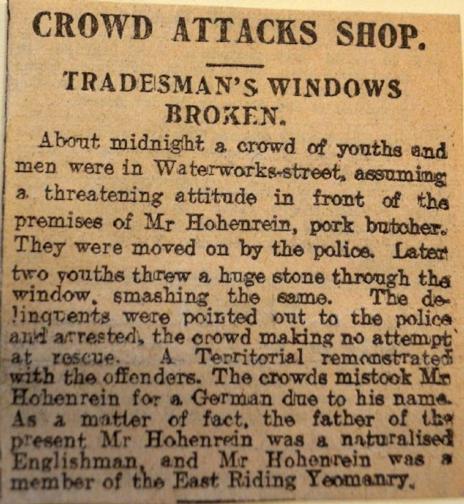 News article about attack on Hohenrein butcher's shop Waterworks Street, Hull in June 1915