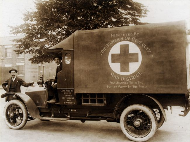 Black and white photograph of an ambulance presented to the British Army during the First World War by the Borough of Beverley