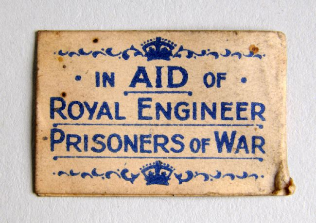 Reverse of WW1 charity flag with the Royal Engineers badge and motto