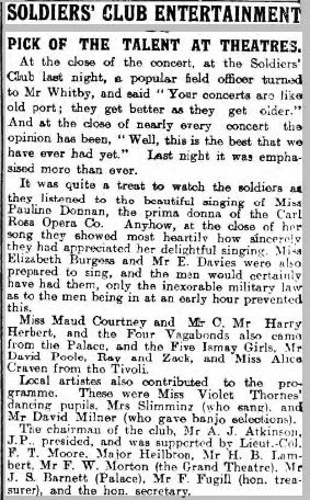 Hull Daily Mail 4 Feb 1915 describing the previous evening's entertainment at the Hull Soldiers' Club