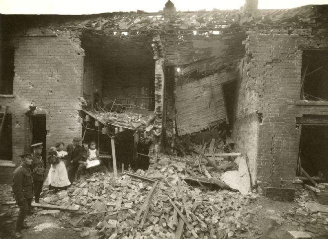 Photograph showing Zeppelin damage to Waller Street in Hull, 6 June 1915