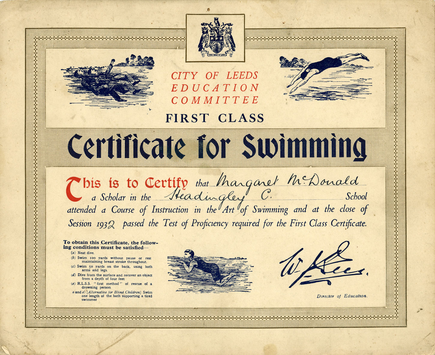 First Class swimming certificate with drawings of people swimming outdoors