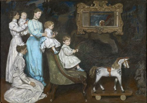 Paiting of a family and a rocking horse