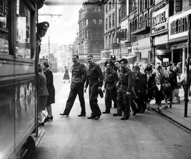 Prisoners of war getting on a bus