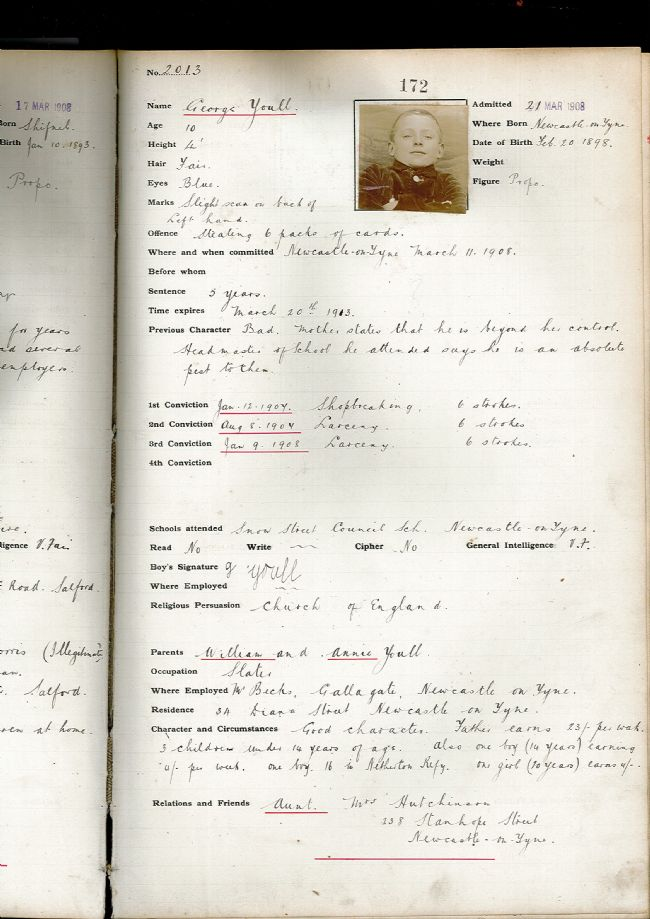 Admission record number 172 showing a small photo of George along with information such as date and place of birth, age, height, weight etc.