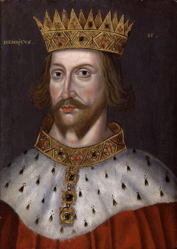 Portrait of King Henry II wearing an ermine collar and gold crown