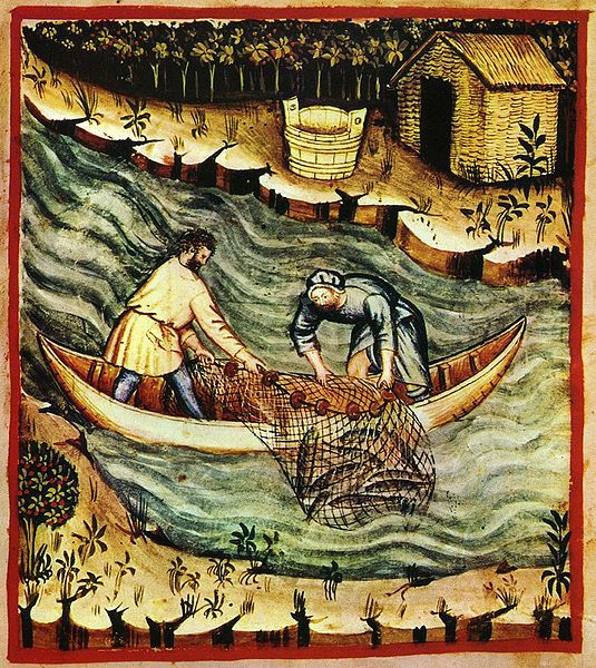 Illustration of men fishing with nets in medieval times