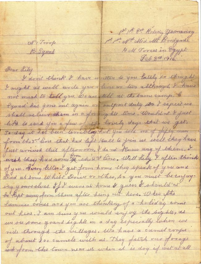 First page of a letter sent by Leonard May to his sister Lily on 8 February 1916