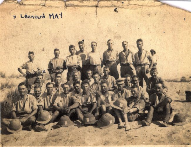 Postcard of East Riding Yeomanry men in their shirt sleeves and shorts during WW1