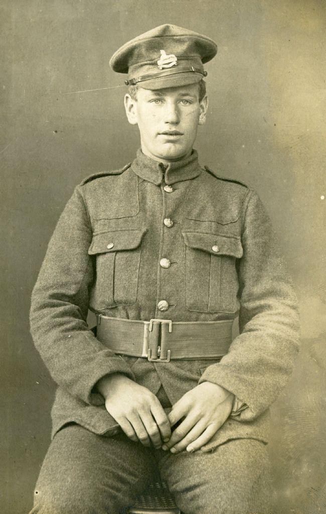 WW1 soldier Arthur Markham in his service uniform, probably taken in 1917