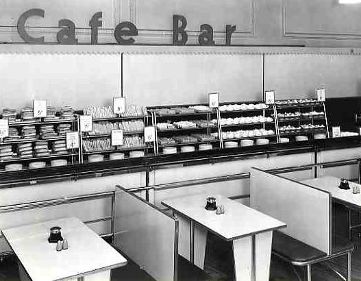Black and white photo of M&S Cafe bar Hammersmith