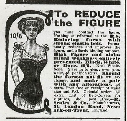 Advert for corsets with text and an illustration of a woman wearing a corset