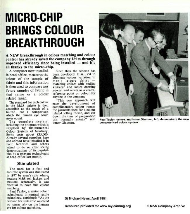 St Michael News article April 1981 about fabric colour technology