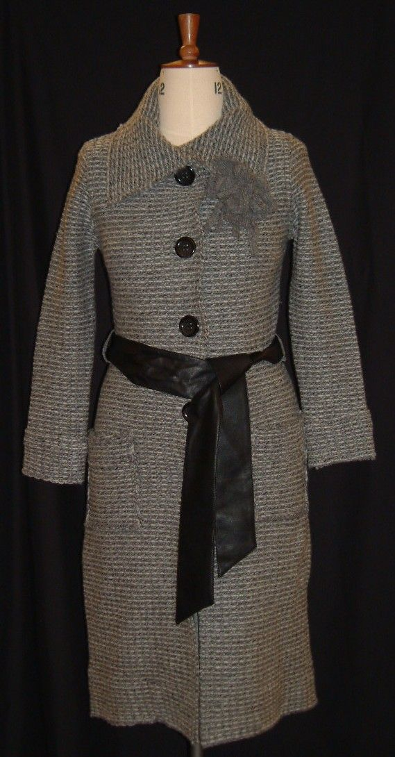 Grey M&S Autograph coat from 2006 with black belt and buttons