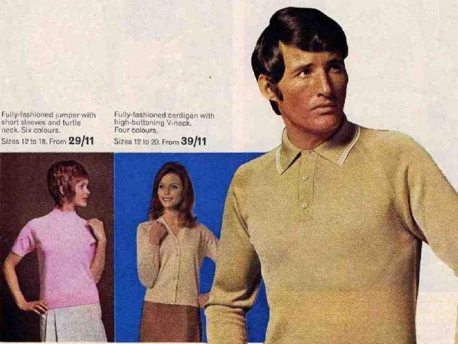 M&S Tricel clothing advert showing a male model and two females