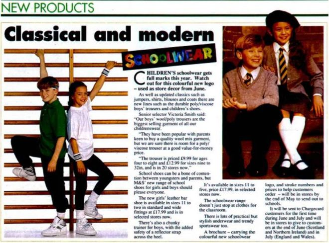 Magazine article on M&S schoolwear 1992