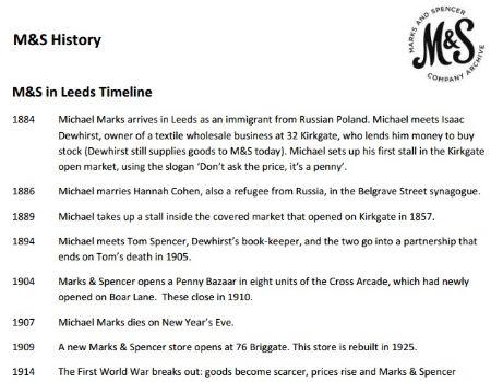 M&S - Homegrown Expansion in Leeds - M&S in Leeds Timeline (PDF)