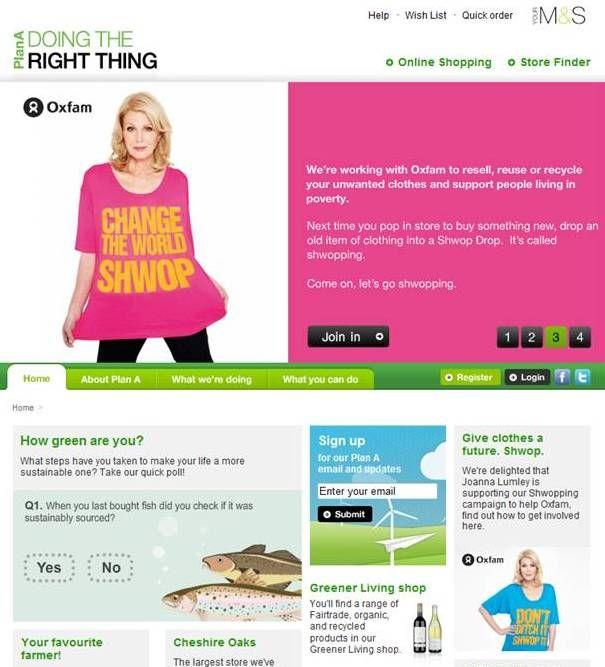 M&S Plan A Website screenshot