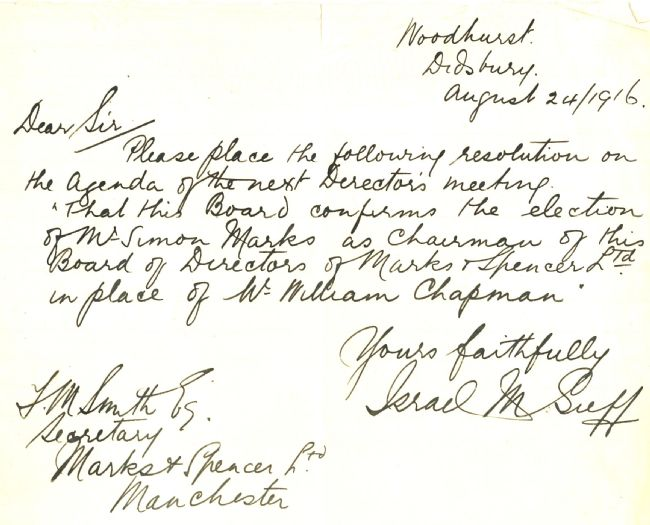Letter from Israel Sieff to M&S Company Secretary, August 1916