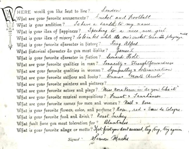 Handwritten questionnaire completed by Simon Marks of Marks & Spencer, aged 16