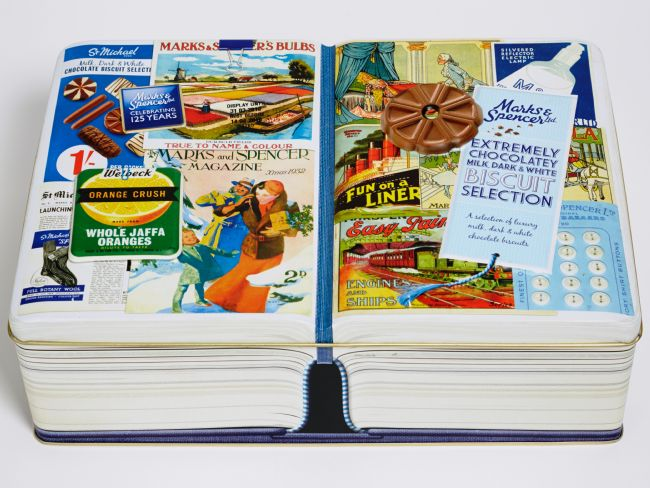 M&S biscuit tin 2010 in the style of an open book