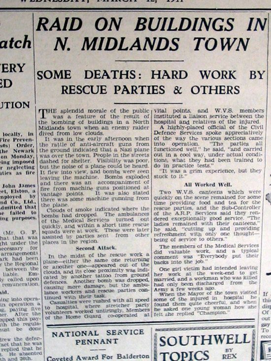 """Newspaper report headline: Raid on buildings in N. Midlands town.  Some deaths: Hard work by rescue parties and others"""""""