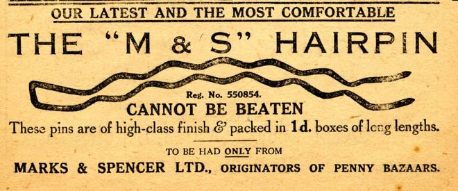 M&S Advert for Hair Pins 1912-13