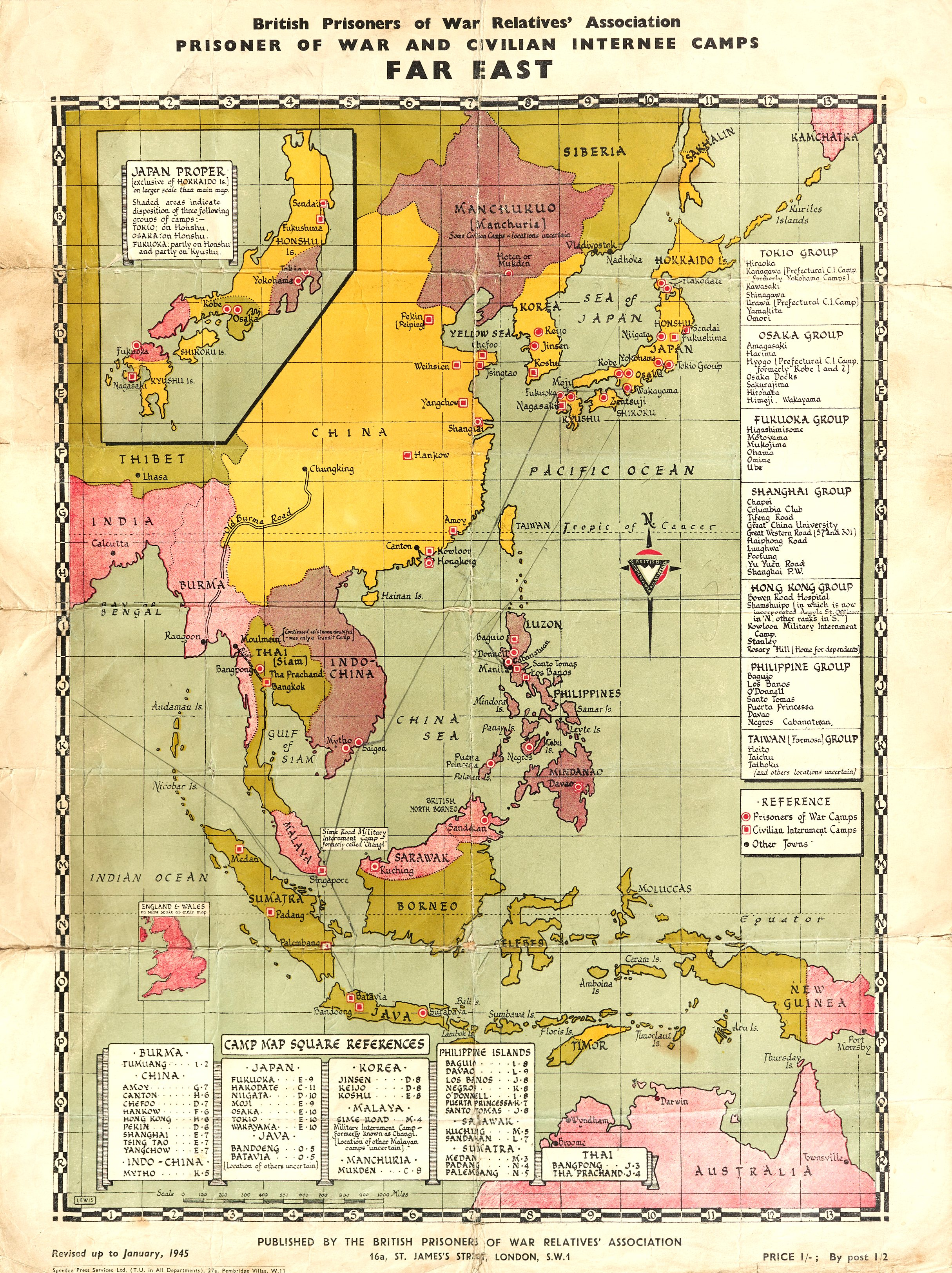 Printed colour map showing the far east including India, Thailand, Philipines, Singapore etc with the camps marked on