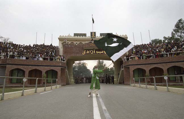 Image result for pakistani flag on pak india border