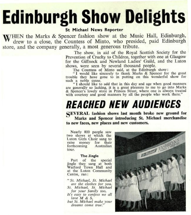 St Michael News Article 1959 M&S charity fashion show
