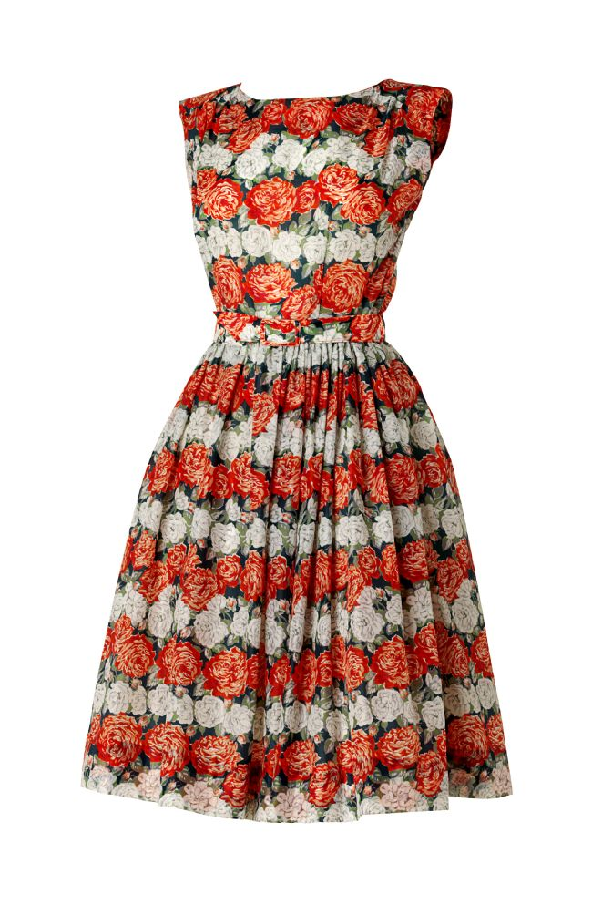 Sleeveless dress with full pleated skirt and floral pattern of red and white roses