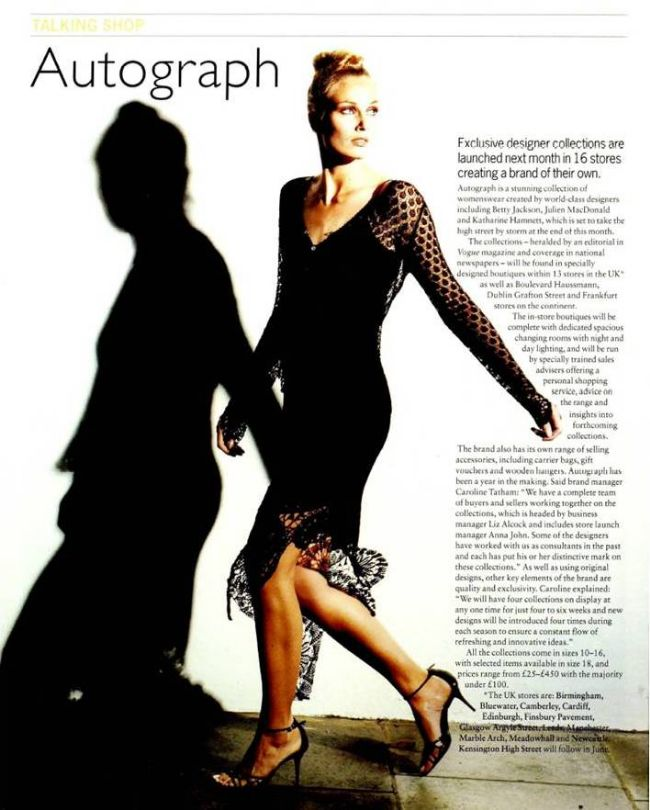 Autograph magazine article with a photo of a model wearing a black dress